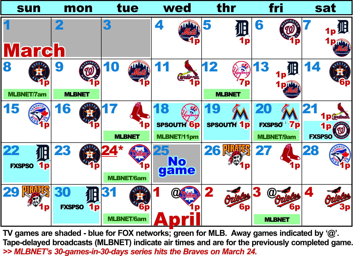 atlanta braves full spring schedule