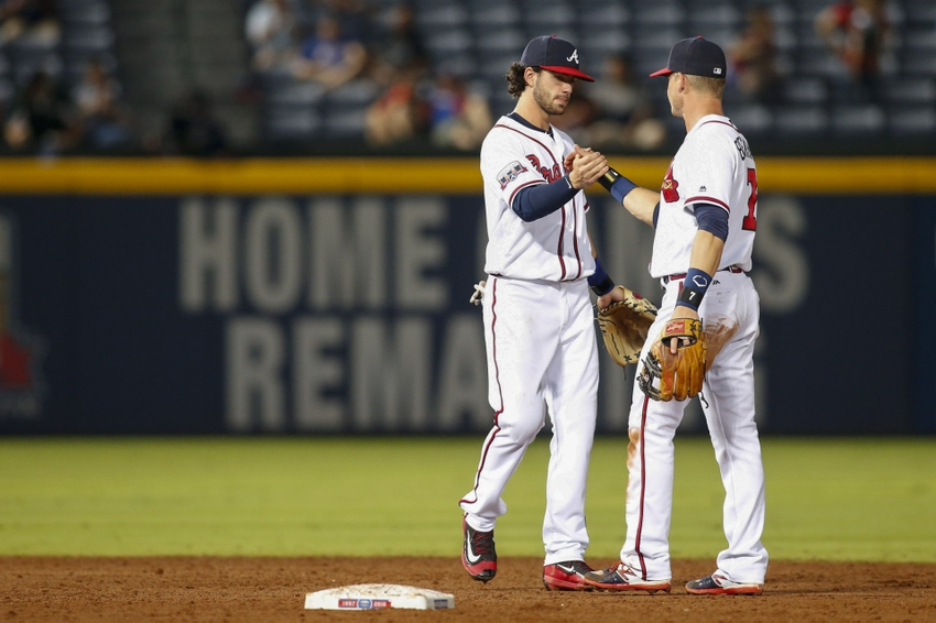 Aug 30 2016 Atlanta GA USA Braves Shortstop Dansby Swanson 2 And Second Baseman Gordon Beckham 7 Celebrate A Victory Against The San Diego